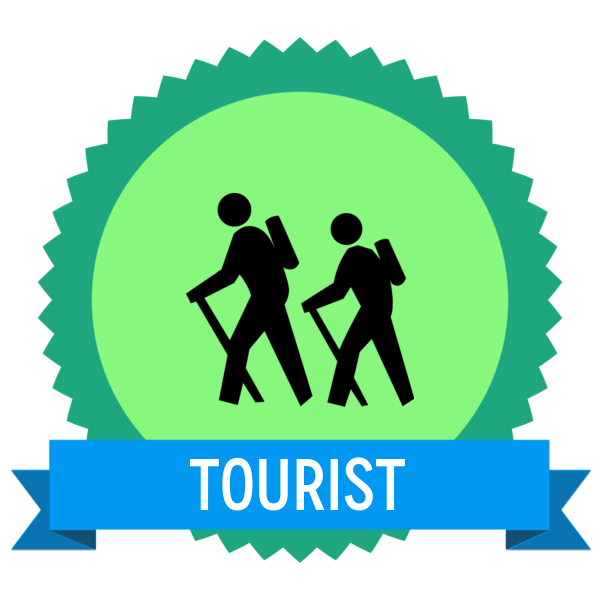 "Badge icon ""Hiking (385)"" provided by The Noun Project under The symbol is published under a Public Domain Mark"